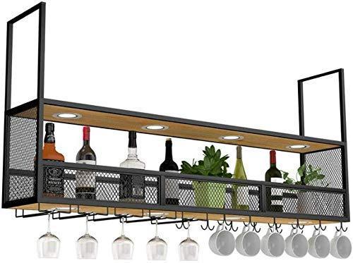 Wijnliefhebbers barmeubel & wandmontage wijndeur hout zwart plafond-hangflessenhouder van metaal / kubus hangdeur wijnfles hout drijvende planken wandplank decoratie 60×30×80cm