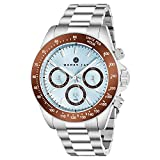Henry Jay Mens Sport Chronograph Watch - Stainless Steel Brushed Matte Bracelet,