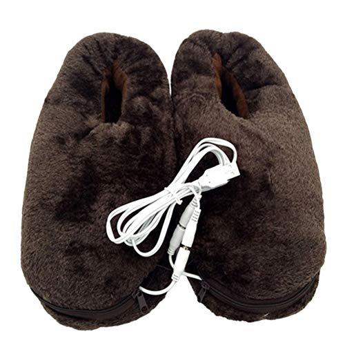 Chaussons chauffants électriques chauffants en peluche douce pour l'hiver - Charge USB - Chauffe-pieds électriques - Chaussures chauffantes pour garder les pieds au chaud