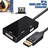 WQAZ DP-HDMI-DVI-VGA-Konverter 3 in 1 DP Display Port-Konverter Video-Adapter for PC...