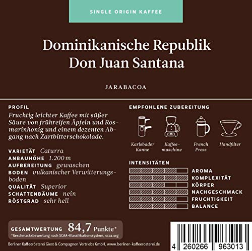 BKR | Kaffee | Dominikanische Republik | Don Juan Santana | Arabica | Single Origin 500g Bohne