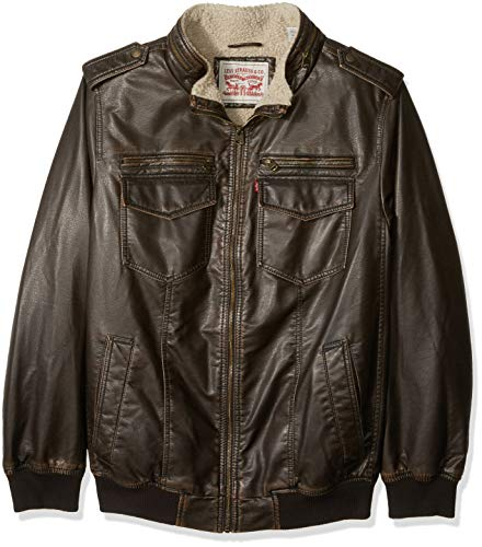 Levi's Men's Vintage Deer Faux Leather Aviator Bomber (Standard and Big & Tall), Ultra Brown, Large Tall