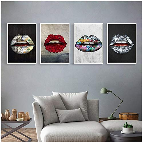 RUIQIN Impressão em tela, pinturas, lábios, tentação, cartazes, sala de estar, quarto, arte, decoração de casa, 40 x 50 cm com moldura colorida