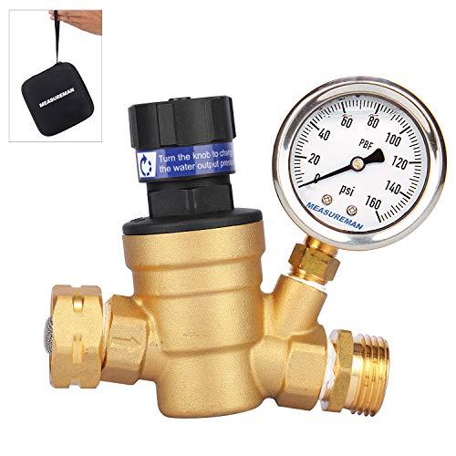 Measureman Handle Adjustable Brass Lead-Free RV Pressure Regulator, Pressure Reducer With Liquid Filled Pressure Gauge 160psi and Inlet Screened Filter For Camper, Trailer, RV, Garden, Plumbing System