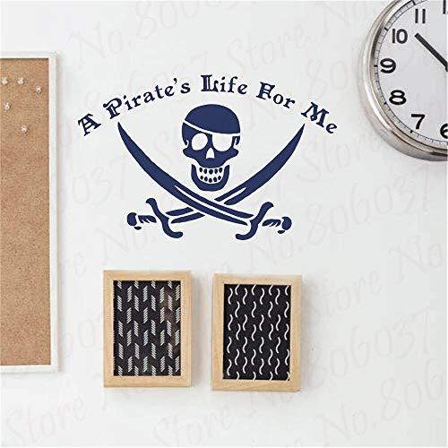 yaofale Piratenleben für Mich mit Piratenflagge Piratenschädel Vinyl Wandtattoo Spielzimmer Junge Zimmer Wandaufkleber abnehmbar