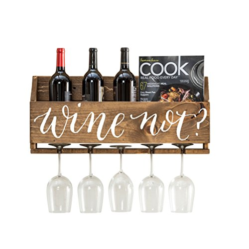 del Hutson Designs - The Little Elm Wine Rack w/Quote 'Wine Not?', USA Handmade Reclaimed Wood, Wall Mounted, 4 Bottle 4 Long Stem Glass Holder (Walnut)