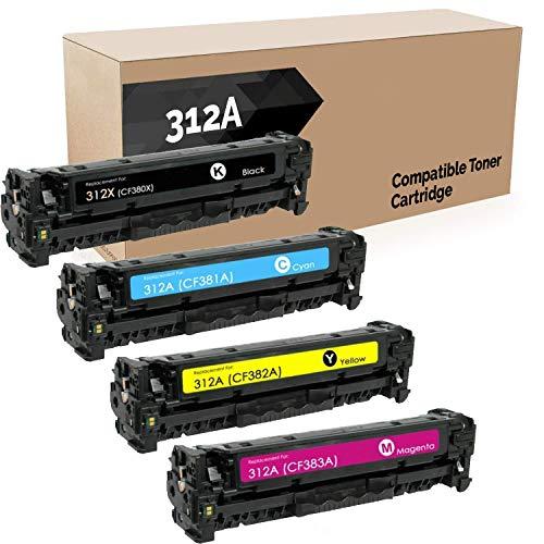 Do it Wiser Compatible Toner Cartridge Replacement for HP 312A 312X CF380X CF380A CF381A CF382A CF383A (Black Cyan Magenta Yellow, 4-Pack)