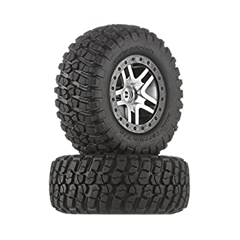 Traxxas 6873 BF Goodrich Mud Terrain T/A KM2 Tires Pre-Glued on Satin Chrome Black Beadlock-Style Wheels  pair