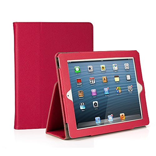 RUBAN Folio Case for iPad 2 3 4 (Old Model) 9.7 inch Tablet - [Corner Protection] Slim Fit Smart Stand Protective Cover Auto Sleep/Wake, Hot Pink