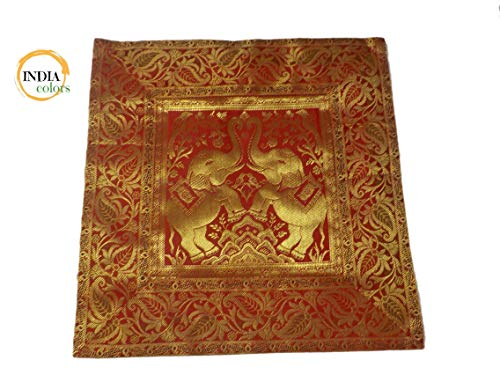 India colors. Cojín hindú (Satin Silk) Funda Bordado Artesanal Hecho a Mano en India. (Tono 5)
