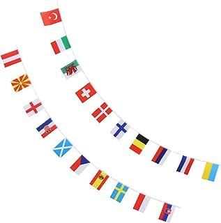 STOBOK Copo Campeonato Europeu Bandeira Corda 24 Países Futebol Galhardete Bandeira Garland para 2021 Bar de Esportes Even...