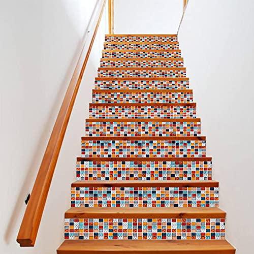 tzxdbh suelo vinilo rollo Color mosaico 100CMx18CMx6pieces(39.3'w x 7'h x 6pieces) Pegatinas escaleras peldaños autoadhesivo Renovación Impermeable Calcomanía arte DIY Pasos vinilo