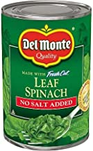 Del Monte No Salt Added Leaf Spinach 13.5oz Can (Pack of 12)