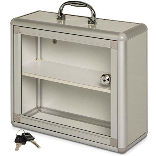 Grinscard Medizinkoffer zur Wandmontage - Silbern 30 x 26 x 11 cm - Abschließbarer Verbandskasten inklusive Montagesatz