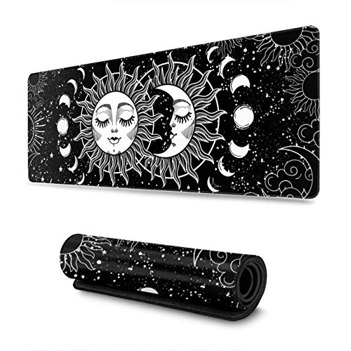 Magic Astrology Crescent Moon and Sun Gaming Mouse Pad XL, Extended Large Mouse Mat Desk Pad, Stitched Edges Mousepad, Long Non-Slip Rubber Base Mice Pad, 31.5 X 11.8 Inch