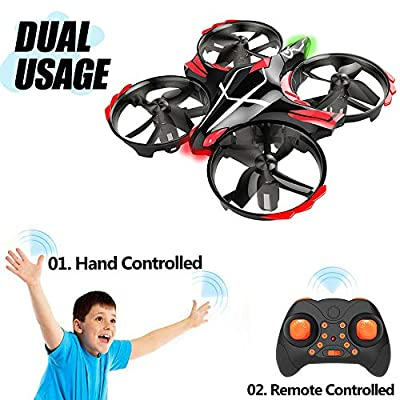 Mini Drone for Kids, GEEKERA Remote Control Helicopter Boy Toy UFO with Gesture Remote Smart Obstacle Avoidance Toss Shake Take off,Aircraft Plane Gift for Children