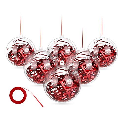 WisFox Bola de Navidad Transparente de 20 Paquetes, 80mm Clear Christmas Chucherías para llenar, Adornos de plástico a presión para decoración y Adornos, Inastillable