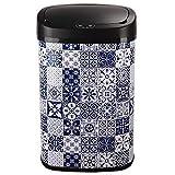 Poubelle de cuisine automatique 58L MAJESTIC Carreau de ciment Bleu en acier INOX avec cerclage