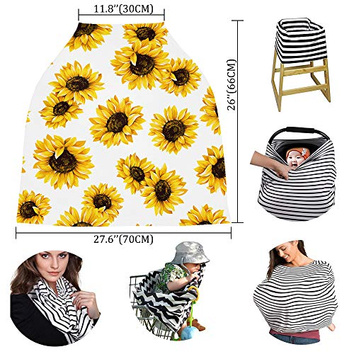 Baby Car Seat Covers Sunflower, Nursing Cover Breastfeeding Scarf/Shawl, Infant Carseat Canopy, Stretchy Soft Breathable Multi-use Cover Ups, Yellow Floral