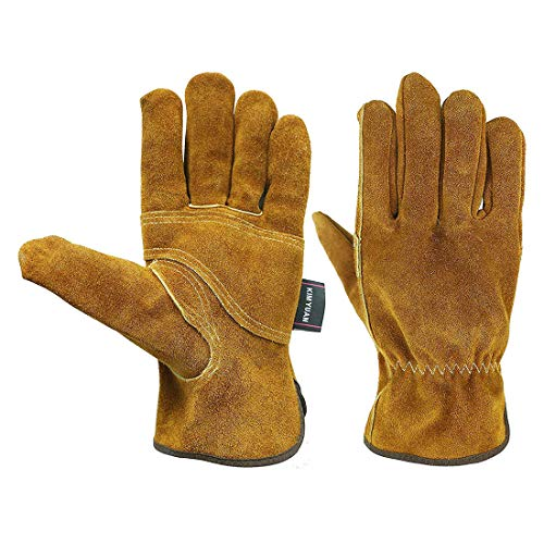 Leather Waterproof Work Gloves with Wrist Wear-Resisting Puncture-Proof for Yard Work, Gardening, Farm, Warehouse, Construction, Men and Women,L