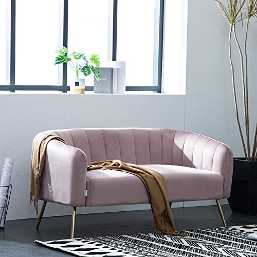 Warmiehomy Modern Velvet 2 Seater Sofa 2 Tub Chair/Sofa Seating Double Couch Lounger Living Room Furniture (Pink)