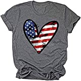 Beopjesk Womens American Flag T-Shirt Cute July 4th Independence Day Patriotic Graphic Tees Tops (A, M)