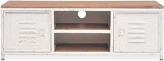 Tidyard Industrial TV Stand Vintage TV Cabinet Metal Wood Living Room Furniture White