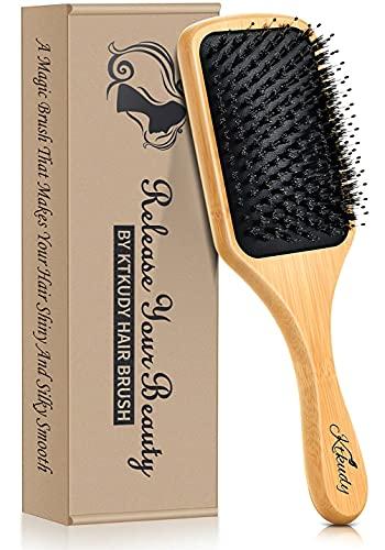 Boar Bristles Hair Brush Natural Bamboo Detangling Brush for Women Men Kids Wet and Dry Hair Wooden Detangler Hairbrush Adds Shine and Improves Hair Texture - Reducing Hair Breakage and Frizzy
