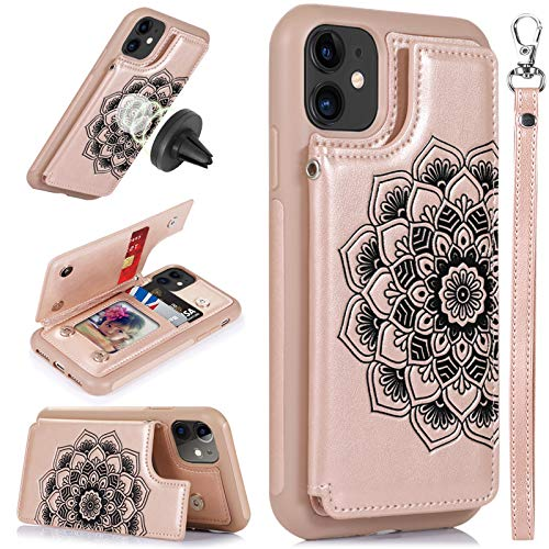 CASEOWL iPhone 11 Case,iPhone 11 Wallet Case with Card Holder,RFID Blocking,Kick Stand,Wrist Strap,Fit Magnetic Car Mount,Mandala Embossed Leather Back Flip Cover Case for iPhone 11(2019),Rose Gold