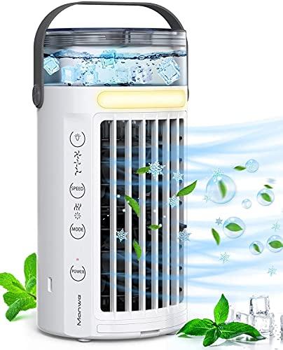 Manwe Climatiseur Portable, 450ML Climatiseur Mobile, Refroidisseur d'air, 4 en 1 humidificateur d'air, 3 Vitesses et 2 Modes,7 Couleurs,utilisé dans Le Bureau, la Chambre à Coucher Le Salon Camping