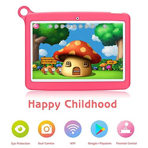 Padgene tablet voor kinderen 10 inch, Android 8.1 kindertablet educatieve tablet met kinderbeveiligingsmodus, IPS touchscreen, dual camera 2G/3G/WiFi, siliconen hoes voor jongens en meisjes 10.1