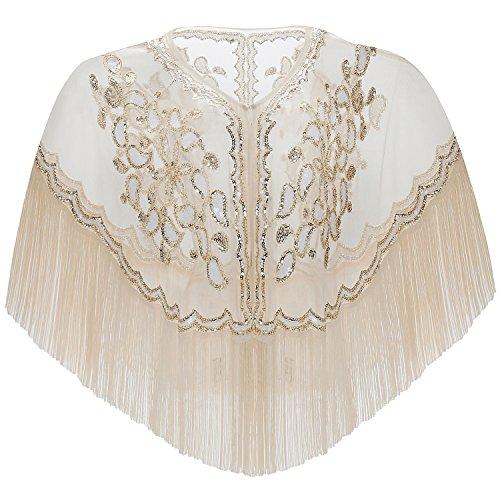 ArtiDeco ArtiDeco 1920s Retro Schal Damen Stola Umschlagtücher für Abendkleid Hochzeit Party Braut Schal Gatsby Kostüm Accessoires (Beige Stil 1)