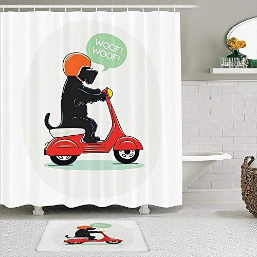 ZELXXXDA Juegos de Cortinas de Ducha con alfombras Antideslizantes,Ilustración de un Cachorro en Scooter con DIS, Alfombra de baño + Cortina de Ducha con 12 Ganchos