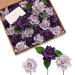 Ling's moment Artificial Gardenia Flowers w/Stem for DIY Wedding Bouquets Centerpieces Arrangements Party Baby Shower Home Decorations (Lilac & Purple)