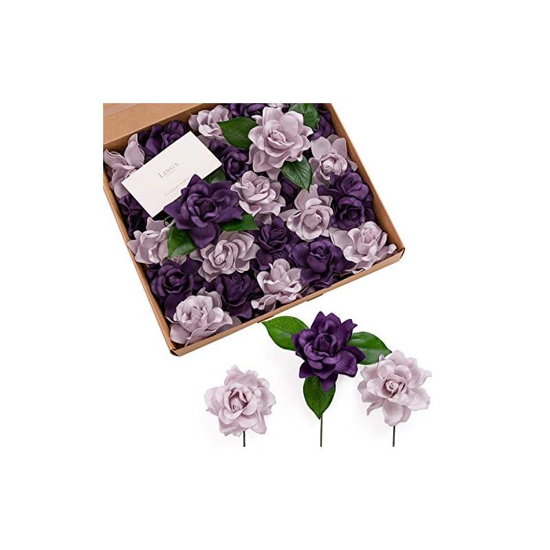 silk flower arrangements ling's moment artificial gardenia flowers w/stem for diy wedding bouquets centerpieces arrangements party baby shower home decorations (lilac & purple)