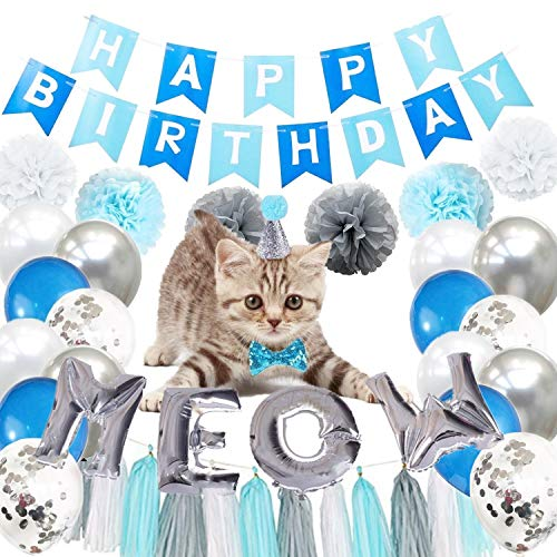 Blue and Silver Cat Birthday Party Supplies Silver Meow Balloons Happy Birthday Banner Balloons Tissue Pom Poms Tassels Birthday Hat Bow Tie for Cat Pet