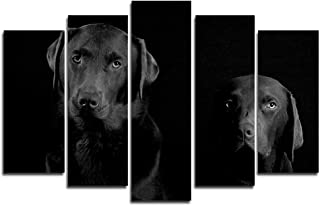 Faicai Art 5 Piece Chocolate Labrador Paintings Dog Wall Art Canvas Prints Black and White Large Animal Wall Poster Artwork Pictures for Home Office Wall Decorations Framed Ready to Hang 50