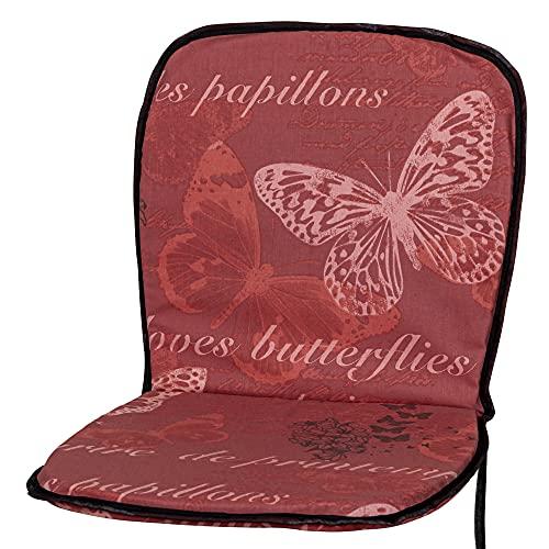 Kettler Polen KETTtex 2386 Auflage Monoblock niedrig rot Schmetterlinge 72x38x2,5 cm Sitzpolster