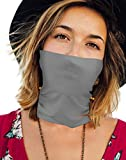 Thin Bandanas Face Mask Neck Gaiter for Summer Made in USA -Light Grey 1 Layer,One Size