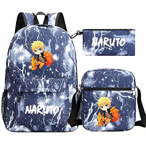 marsupio donna off white JPTYJ White english characters Naruto Uchiha Itachi/Akatsuki Anime Zaino Set Abito in tre pezzi Marsupio Astuccio per matite Borsa da scuola con stampa anime per studenti D-Blue starry sky