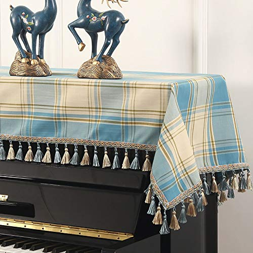 Dhl Piano a Cuadros Polvo Cover Set Teclado de Piano Moderno Minimalista Pedestal Cubierta (Color : Blue, Size : Single Stool Set)