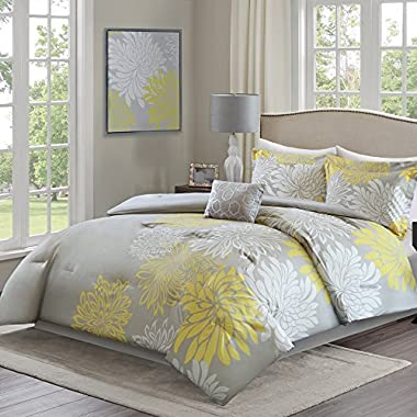 Comfort Spaces Enya Comforter Set - 5 Piece – Yellow, Grey – Floral Printed – King size, includes 1 Comforter, 2 Shams, 1 Decorative Pillow, 1 Bed Skirt