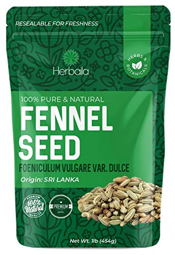 Fennel Seeds 1 Pound, Supports Healthy Digestion, Relieves Bloating/Gas, Whole Fennel Seeds in Bulk Resealable Bag, non-GMO & Kosher