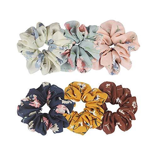 YEBIRAL Scrunchies Bunte Chiffon Blume Haargummis Mädchen, Bunt Elastisch Haarbänder für Damen, Pferdeschwanz Haarband Haarschmuck (6 Stück)