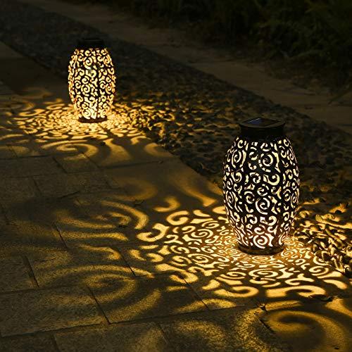 2 Pack Solar Lanterns, Hanging Solar Lantern Outdoor Lantern Solar Powered Lantern with Handle Metal Waterproof Decorative Solar Garden Lights for Patio Yard Pathway Walkway