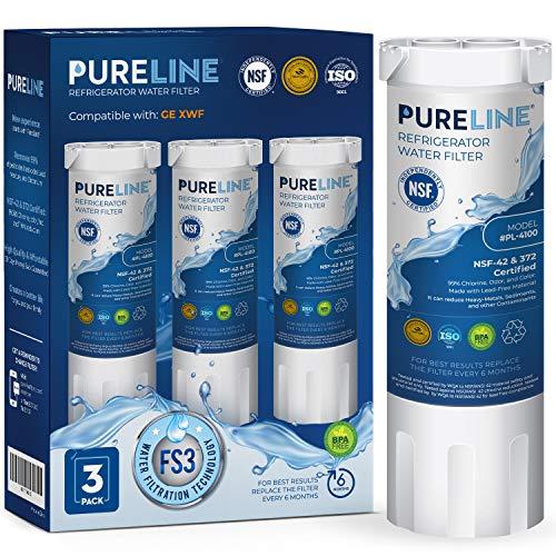 Pureline XWF Refrigerator Water Filter Replacement for GE XWF. Replaces Refrigerator Models Starting with GBE21, GDE21, GDE25, GFE24, GFE26, GNE21 (3 Pack)