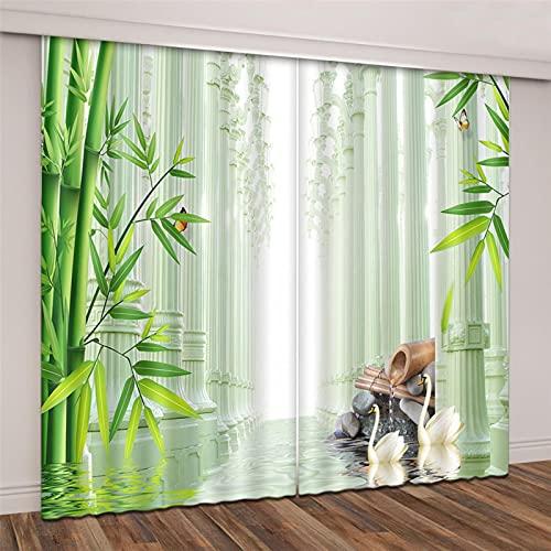lubenwei Cortinas Opacas - Impresión 3D Guijarros de bambú - Cortinas con Ojales - Reducción De Ruido De Aislamiento,180(H) x125(An) Cmx2 Paneles/Set (D-1313)