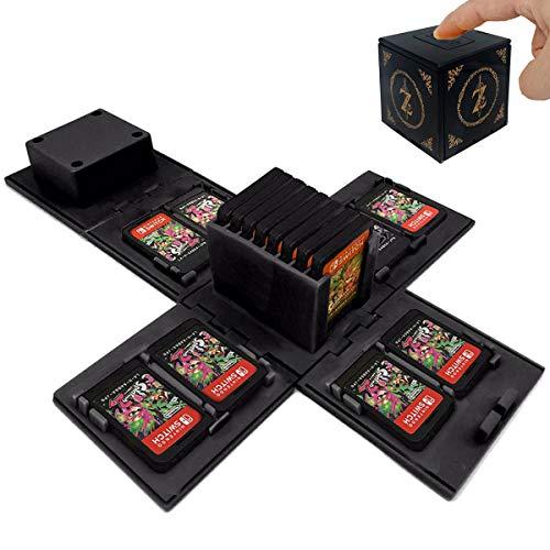 TUSNAKE Spielkartenhalter für Nintendo Switch,Passend für bis zu 16Nintendo Switch Spiele Aufbewahrungssystem Spielkarten Organizer Reisebox Hartschalen (Zelda/Black)