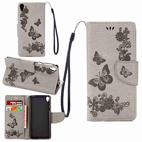 Schutzhülle Für Sony Xperia E5 , pinlu® Handyhülle Hohe Qualität PU Ledertasche Brieftasche Mit Stand Function Innenschlitzen Design Groß Schmetterling Grau