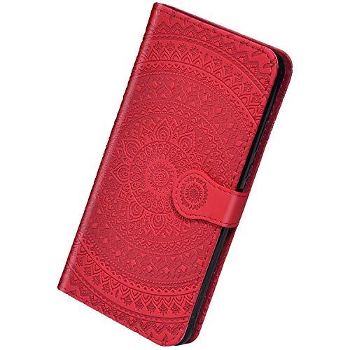 Herbests Kompatibel mit Huawei P20 Pro Leder Hülle Schutzhülle Handyhüllen Vintage Sonnenblume Muster Flip Brieftasche Wallet Tasche Ständer Klapphülle Etui Case Magnetverschluss,Rot